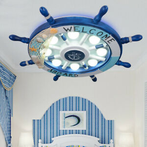 reputable site a9843 de929 Details about Nautical Rudder Shape Kids LED Ceiling Light Modern Flush  Mount Lighting in Blue
