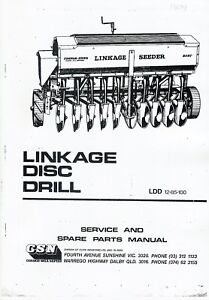 details about connor shea linkage disc drill instructions and parts book photocopy rh ebay com au connor shea 8000 seeder manual connor shea disc drill manual