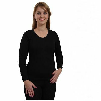 Ladies Thermal Short Sleeve Spencer Vest UnderWear White//Black 10//12//14//16//18//20