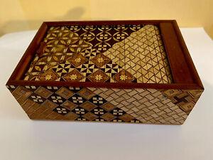 Vintage Japanese Yosegi Zaiku Marquetry Wooden Box Roll Top Mosaic Wood Boxes