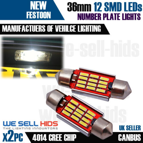 Audi A3 8L S3 12 SMD Error Free LED Number Plate Xenon White Bulbs 6000K C5W