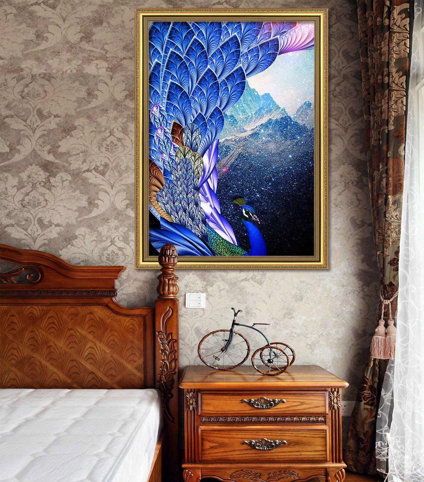 3D Azul Pavo Real 51 Enmarcado Póster Decoración del Hogar Pintura de Impresión Arte AJ