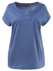 Ulla-POPKEN-Damen-T-Shirt-Top-Tee-Ubergroessen-20-22-24-26-28-30-32-34-blau-Baumwolle