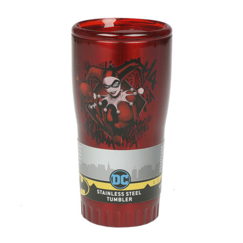 Silver Buffalo Red Harley Quinn Diamond Double Wall Stainless Steel Tumbler 20oz