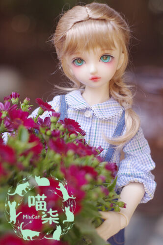 """1//4 SD BJD Wig 7-8/"""" Brown//Carrot//Gold Synthetic Long Sweet Braids Wig Hairs"""