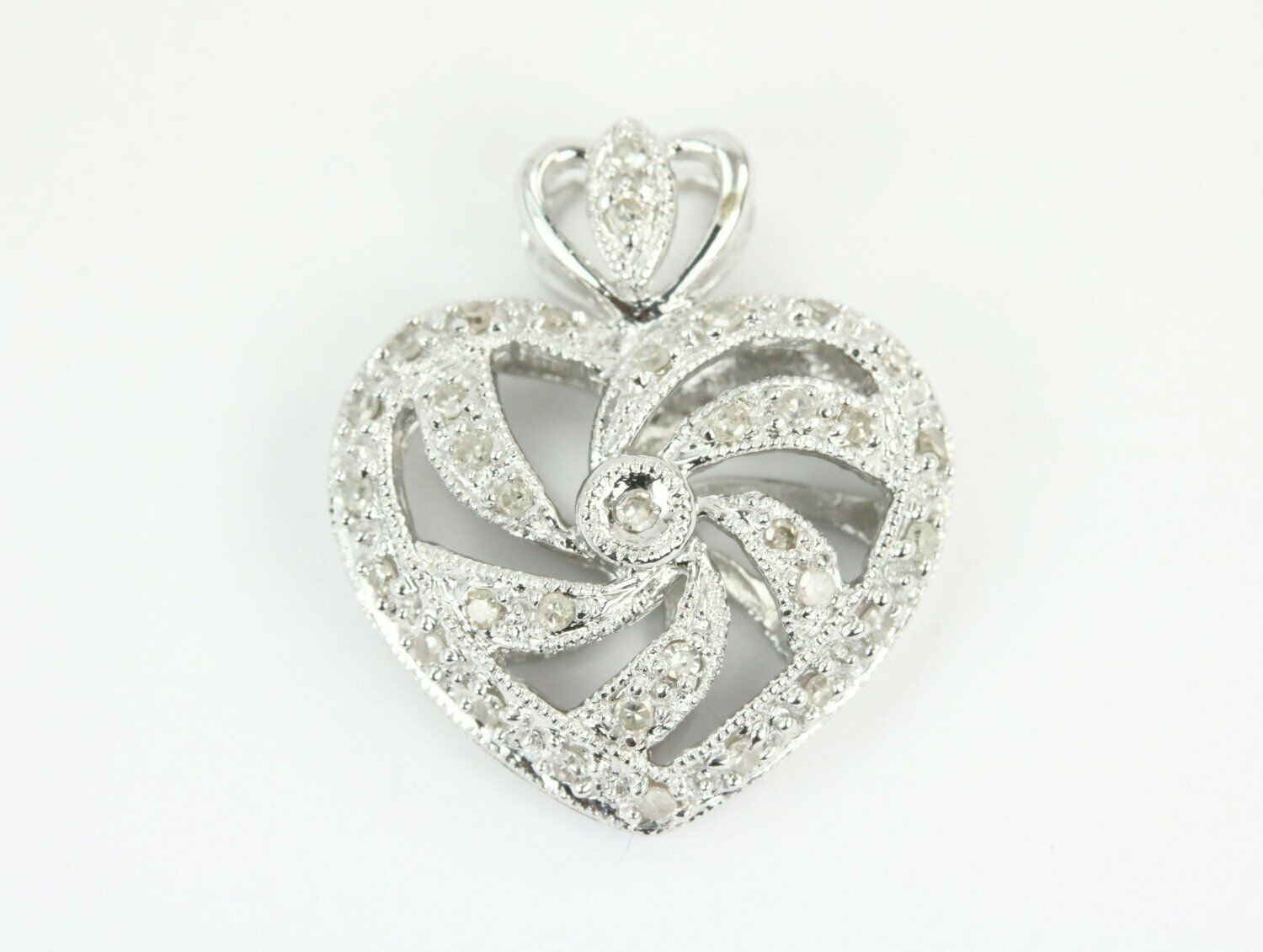 d656f199dd936 Bale Pave Heart Wide 19.5x17mm gold White 14K In Pendant Heart ...
