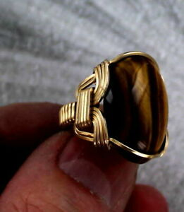 Large-Tiger-Eye-Gemstone-Ring-in-14kt-Rolled-Gold-Size-5-to-15-Wire-Wrapped