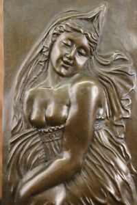 Fine-Rare-French-Bas-Relief-Art-Nouveau-Bronze-Sculpture-Statue-Figurine-Figure