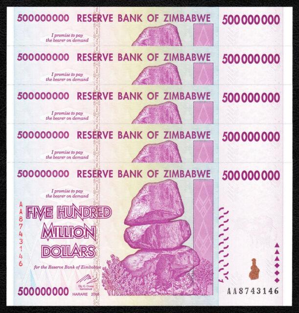 ZIMBABWE 500 Million X 5 PCS AA 2008 P-82 Trillion Series 1/20 Bundle UNC