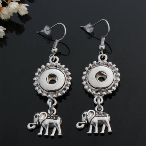 Nouveau Tortue Hibou éléphant chanceux Boucles d/'oreilles pendantes fit 12 mm Snap Boutons Bijoux