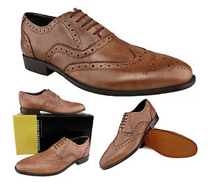mens new taupe brown leather brogues shoes leather soles