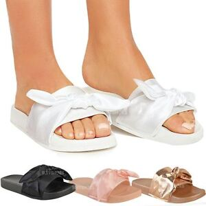 Details about Womens Ladies Bow Sliders Sandals Flat Comfy Slides Slippers Satin Summer Size