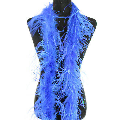 "ROYAL BLUE w// BLACK Tip 72/"" Boa Costume//Halloween//Bridal CHANDELLE FEATHER BOA"