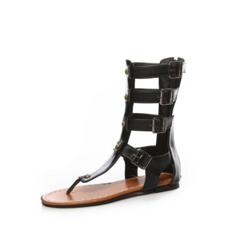 Details about  /Roman Gladiator Mid Calf Clip Toe Back Zip Strappy Women Hollow Out Sandals D