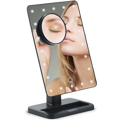 Beautify Makeup Mirror LED Light Vanity Cosmetic Illuminated Magnifying Black