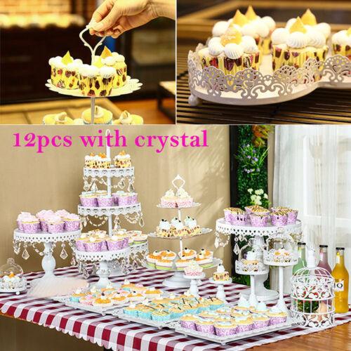 12pc Crystal Metal Cake Holder Cupcake Stand Wedding Birthday Display Gift White