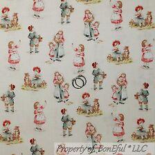 BonEful Fabric FQ Cotton Quilt VTG Antique Toile Boutique Baby Boy Girl Dog RARE