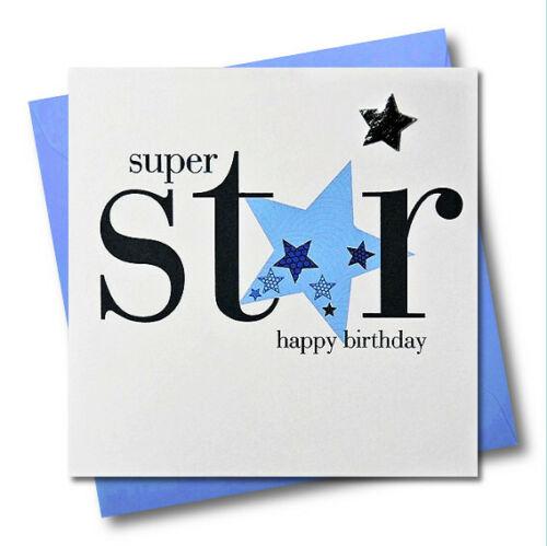 Anniversaire Carte De Vœux-Super Star HNS13-ORNEMENTE Rembourré Star