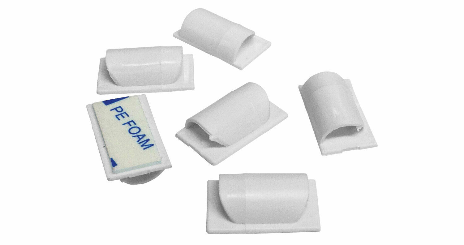 Avsl 788.015 Pack of 20 Self Adhesive Backing D Line Cable Tidy Clips - White