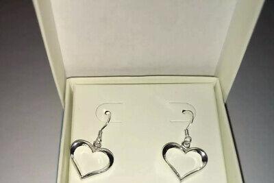 New 925 Sterling Silver Open Heart Ball Link Earrings