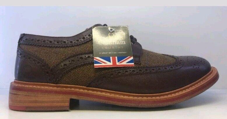 Chatham Men's Brown Lewis II Tweed Brogues shoes Uk 15