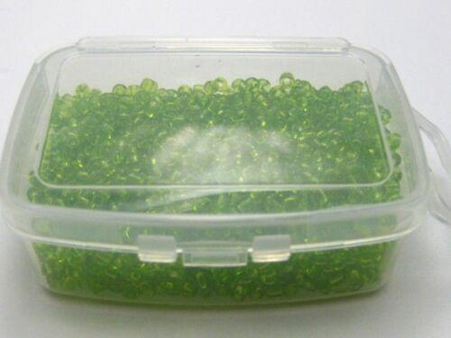 Caja de almacenamiento 5000 Verde Transparente Cristal Semilla Cuentas 2 mm 10//0
