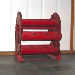 "Vintage Industrial Revolving Tray Red ""Ferris wheel Caddy/Hopper "" Display"