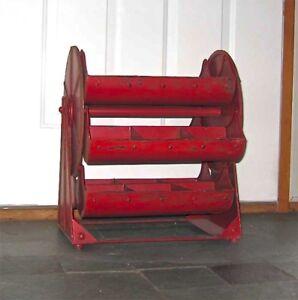 Vintage-Industrial-Revolving-Tray-Red-034-Ferris-wheel-Caddy-Hopper-034-Display