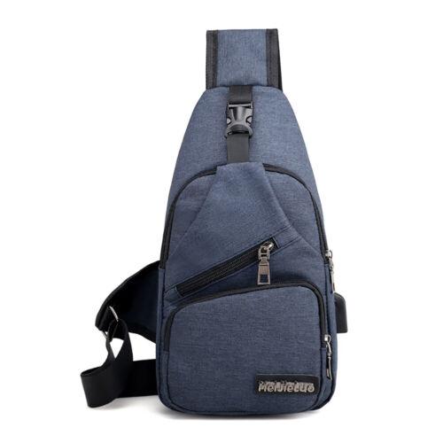 Men Women Sling Chest Pack USB Charging Sports Crossbody Handbag Shoulder Bag