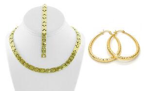 Hugs-amp-Kisses-Necklace-Bracelet-Womens-Gold-Tone-Stainless-Steel-XO-Earring-Set