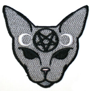 Inverted-Pentagram-Cat-Iron-On-Patch-Embroidered-Gothic-Satan-Wicca-Witch-Moon