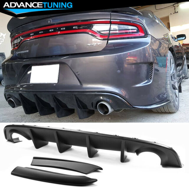 Rear Bumper Diffuser Side Aprons Lip 2PC Compatible With 2015-2020 Dodge Charger SRT 2016 2017 2018 Factory Style PP Splitter Spoiler Chin Diffuser Body kit Caps Valance by IKON MOTORSPORTS