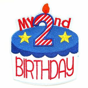 My 2nd Birthday Iron On Patch Girls Boys Baby First Gift Embroidered Badge Pegatinas