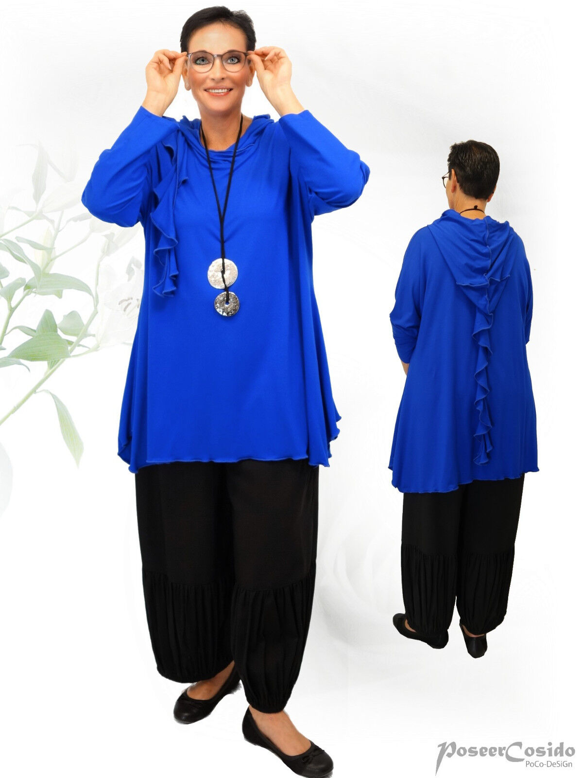 PoCo DeSiGn LAGENLOOK Shirt Tunika Hoodie Zipfelkapuze 42-58 L XL XXL XXXL royal  | Online-Shop  | eine breite Palette von Produkten  | Neue Produkte im Jahr 2019  | Flagship-Store  | Deutschland Shop