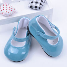 Handmade Blue Leather Boots Shoes For 18inch Doll Kids Toy Party P6A8