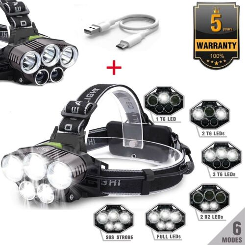 90000LM 5X T6 LED Headlamp Rechargeable Headlight Light Flashlight Torch Lamp UK