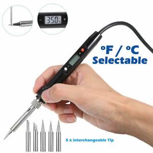 80W Digital Iron Welding Tool LCD Electric Soldering Solder Wire Tweezers Hand