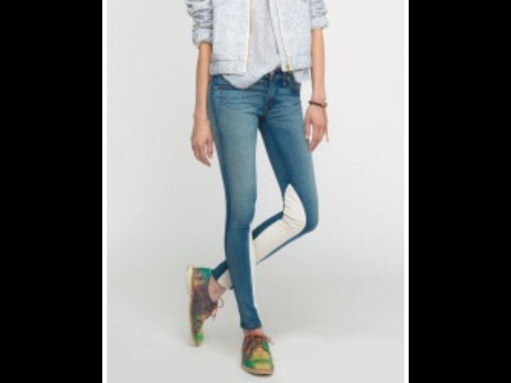 BNWT 100% Auth Rag & Bone heathway Jeans con pannello in pelle. 25 RRP