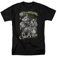 Popeye Only The Strong black Color T-shirt Sizes S-3x