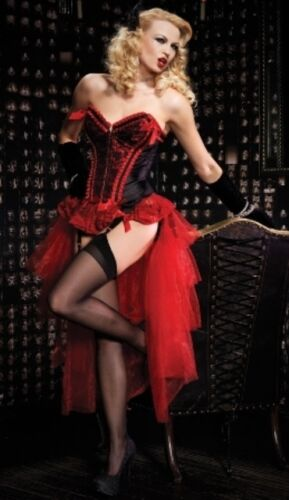 Burlesque Showgirl Red Valentina Corset With Bustle Skirt Costume Lingerie