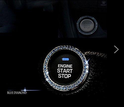 1x Auto Car SUV Decorative Blue Accessories Button Start Switch Diamond Ring YX