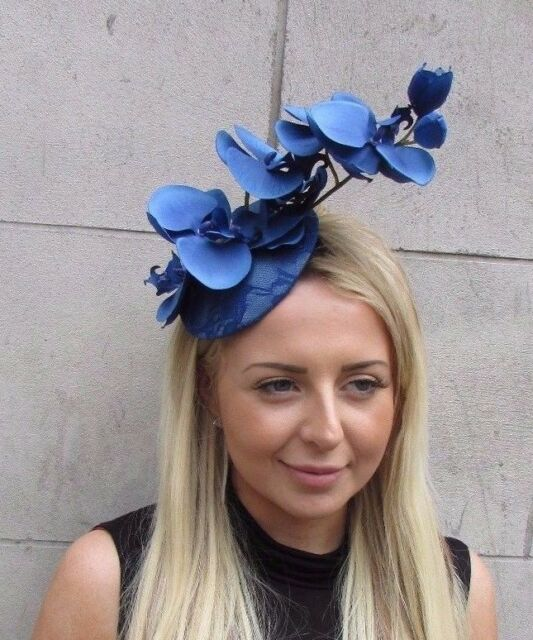 Royal Blue Orchid Flower Fascinator Hat Wedding Hair Clip Races Headpiece  3133 3d129009f47