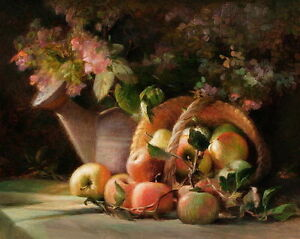 Art-Canvas-Print-Still-life-Apple-Oil-painting-Giclee-Printed-on-canvas-P518