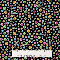 Sewing Fabric - Cute As A Button Toss Black - Henry Glass Yard