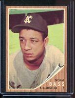 1962   Topps    Baseball     # 122   Norm Bass  Green Tint       NM   Near Mint