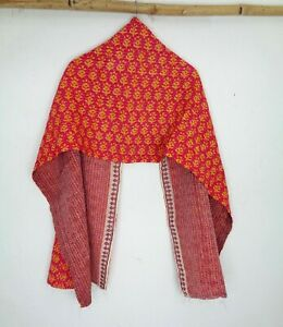 Cotton-Kantha-Scarf-Head-Wrap-Stole-Dupatta-Quilted-Women-Shawl-Stitched-SN28