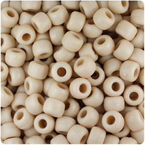 500 Dark Ivory Matte 9x6mm Barrel Pony Beads USA Made by The Beadery
