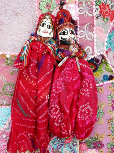 INDIAN TRADITIONAL PUPPETS PAIR DECORATIVE HANGING CHRISTMAS GIFT KATHPUTLI KP14