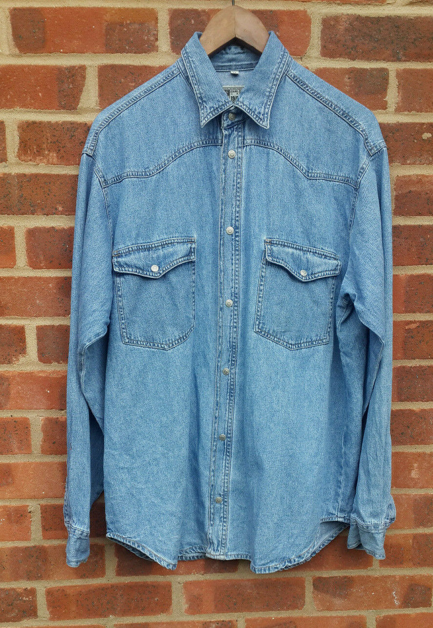 Vintage C&A Jinglers Fade Out Denim Shirt Size M