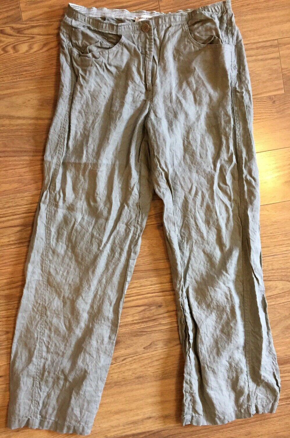 Maria Di Ripawhite 8 100% Linen Made In  Tan Lightweight Pants